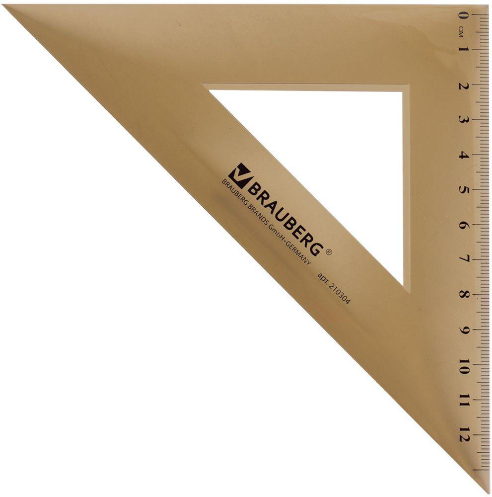 Brauberg Треугольник 45 градусов 16,5 см0703415Треугольник Brauberg прозрачный, тонированный из прочного пластика. Имеет четкую контрастную шкалу делений. Предназначен для чертежных работ.— Шкала - 13 см.— Углы - 45°/45°.— Толщина пластика - 1,6 мм.— Цвет - коричневый.