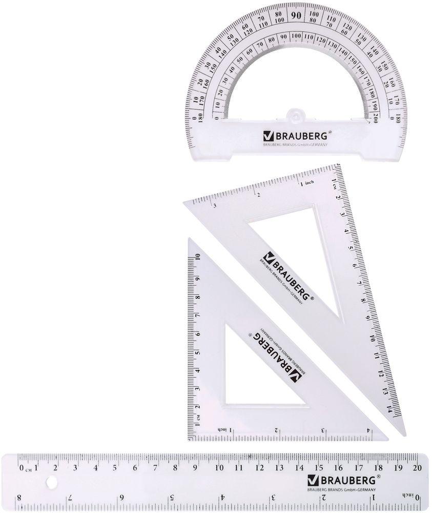Brauberg Геометрический набор 4 предмета210307Геометрический набор Brauberg из прозрачного прочного пластика толщиной 2 - 2,5 мм. Предназначен для чертёжных работ. Особенности:•Линейка со шкалами 20 см/8. •Треугольник с углами 30°/60° и шкалами 14,5 см/3. •Треугольник с углами 45°/45° и шкалами 10 см/4. •Транспортир 180°.