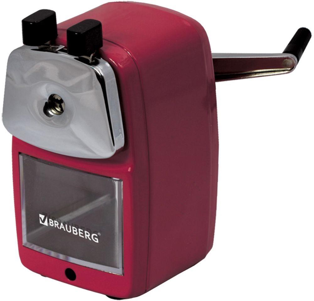 Brauberg Точилка Red PowerFS-36052Настольная механическая точилка для карандашей контейнером для стружки. Полностью металлический корпус и механизм. Роликовый нож обеспечивает высокое качество работы и долговечность точилки.•Роликовый нож. •Прочный металлический корпус. •Размер (ВхШхГ) - 12х7х7 см. •Поставляется в нескольких вариантах цвета (без возможности выбора).