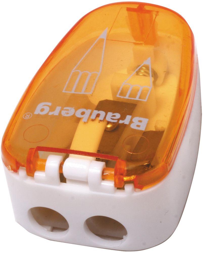 Brauberg Точилка двойная Jax с контейнером цвет оранжевый222496Точилка двойная Brauberg Jax с контейнером для разного вида заточки: острая/округлая. Качественное стальное лезвие обеспечивает лёгкое равномерное затачивание. Контейнер для стружки изготовлен из тонированного цветного пластика.•Пластиковый корпус компактных размеров. •Контейнер для сбора стружки. •2 отверстия для карандашей разного диаметра.