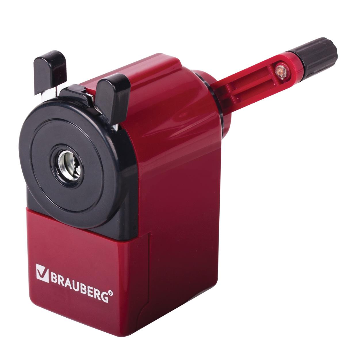 Brauberg Точилка222517Невероятно удобная и стильная точилка. Вращающийся роликовый нож изготовлен из высококачественной стали, что обеспечивает великолепную заточку.•Качественный металлический затачивающий механизм. •Пластиковый корпус. •Вместительный контейнер для сбора стружки. •Цвет - бордовый (с черными деталями). •Размер - 4,5х9,5х9 см.