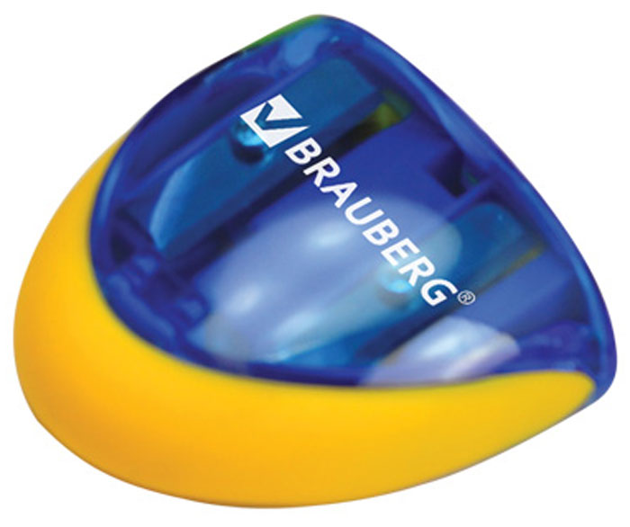 Brauberg Точилка двойная Space с контейнером223589Точилка двойная Brauberg Space с контейнером для обычных и утолщённых карандашей. Качественное стальное лезвие обеспечивает лёгкое, равномерное затачивание. Прорезиненный корпус. Контейнер для стружки изготовлен из тонированного цветного пластика. Оригинальная форма в виде космического корабля.•2 отверстия с резиновыми заглушками для карандашей разного диаметра.•Пластиковый прорезиненный корпус.•Контейнер для сбора стружки. Уважаемые клиенты! Обращаем ваше внимание на цветовой ассортимент товара. Поставка осуществляется в зависимости от наличия на складе.