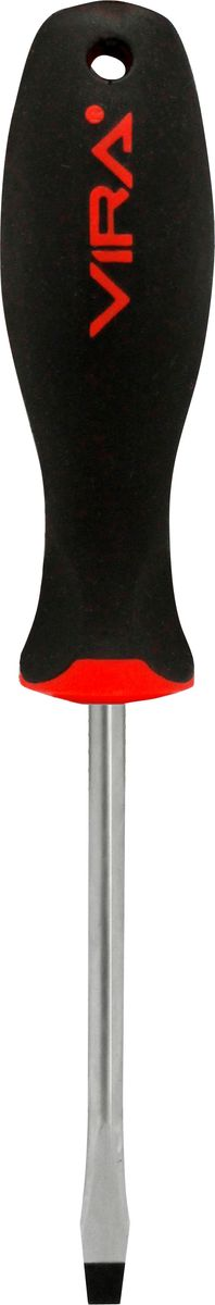 Отвертка Vira, прямая, SL5,5 х 150 мм, CR-V. 391132JTC-ZN22Отвертка Vira с эргономичной двухкомпонентной ручкой предназначена для монтажа и демонтажа резьбовых соединений. Простота и удобство отвертки сочетается с высоким качеством и прочностью стержня. Она превосходно справляется с любыми нагрузками, прекрасно подойдет как для профессионального использования, так и для решения бытовых задач. Наконечник намагничен, чтобы облегчить работу с мелкими деталями. Инструмент выполнен в уникальном дизайне и обладает неповторимой формой, идеально подходящей для любого типа кисти. Эргономичная ручка не только удобно лежит в руке, но еще и обеспечивает высокий крутящий момент, а антискользящее покрытие помогает крепко удерживать инструмент в любых рабочих условиях. Рукоятка отвертки оснащена дополнительным отверстием, используемое для воротка в случае, если необходимо приложить дополнительные усилия.
