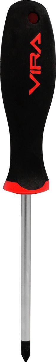 Отвертка Vira, для шлицевых гаек, PZ0 х 75 мм. 391150JTC-3466Отвертка Vira с эргономичной двухкомпонентной ручкой предназначена для монтажа и демонтажа резьбовых соединений. Простота и удобство отвертки сочетается с высоким качеством и прочностью стержня. Она превосходно справляется с любыми нагрузками, прекрасно подойдет как для профессионального использования, так и для решения бытовых задач. Материал стержня - CrV сталь, твердость 48-52 HRC. Наконечник намагничен для того, чтобы облегчить работу с мелкими деталями. Инструмент выполнен в уникальном дизайне и обладает неповторимой формой, идеально подходящей для любого типа кисти. Особое внимание уделяется геометрии жала - все размеры выполнены с высокой точностью углов для максимального соприкосновения с резьбой и снижения усилий на вращение.Эргономичная ручка не только удобно лежит в руке, но еще и обеспечивает высокий крутящий момент, а антискользящее покрытие помогает крепко удерживать инструмент в любых рабочих условиях.Рукоятка отвертки оснащена дополнительным отверстием, используемое для воротка в случае, если необходимо приложить дополнительные усилия.