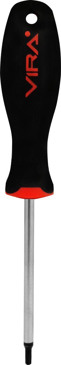 Отвертка Vira, T20 х 100 мм. 391175CA-3505Отвертка T20х100мм, CR-V, эргономичная двухкомпонентная ручка 391175, предназначена для монтажа и демонтажа резьбовых соединений. Данная серия отверток стала самой популярной в линейке инструментов VIRA не случайно - ее простота и удобство сочетается с высоким качеством и прочностью стержня. Она превосходно справляется с любыми нагрузками, прекрасно подойдет как для профессионального использования, так и для решения бытовых задач. Наконечник намагничен для того, чтобы облегчить работу с мелкими деталями. Инструмент выполнен в уникальном дизайне и обладает неповторимой формой, идеально подходящей для любого типа кисти. Эргономичная ручка не только удобно лежит в руке, но еще и обеспечивает высокий крутящий момент, а антискользящее покрытие помогает крепко удерживать инструмент в любых рабочих условиях. Рукоятка отвертки оснащена дополнительным отверстием, используемое для воротка в случае, если необходимо приложить дополнительные усилия.