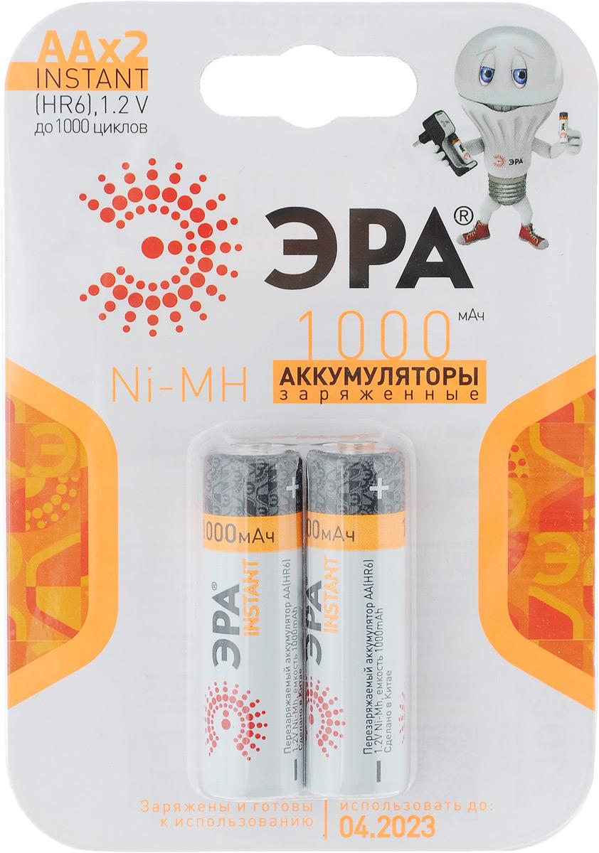 Аккумулятор ЭРА Eco Energy, тип AA (HR6-2BL), 1000 мАч, 2 шт8467Предзаряженные аккумуляторы никель-металлогидридные ЭРА Eco Energy оптимально подходят для повседневного питания множества современных бытовых приборов. Батарейки созданы для устройств с высоким потреблением энергии. Аккумуляторы ЭРА - современное решение для людей, постоянно нуждающихся в надежном источнике питания различных устройств как в своей профессиональной деятельности, так и в период отдыха. Они идеальны для использования даже в самой требовательной бытовой электронике: цифровые фотоаппараты, фотовспышки, плееры, современные игрушки и прочее. Более того, NiMh аккумуляторы отличаются отсутствием эффекта памяти, что исключает необходимость полного разряда перед каждый циклом восполнения емкости. Предзаряженная технология мгновенного использования Instant позволяет аккумуляторам сохранять до 70% энергии в течение 1 года и всегда оставаться готовыми к работе. В комплекте - 2 аккумулятора. Размер аккумулятора: 1,4 см х 5 см.