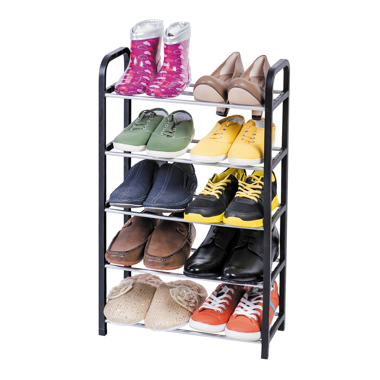 Этажерка для обуви Art Moon Labrador, 5-ти секционная, цвет: черный, 42 х 19 х 70 смS03301004Этажерка Art Moon Labrador с 5 полками выполнена из высококачественного пластика и металла и предназначена для хранения обуви в прихожей. На каждой полке можно разместить по две пары обуви. Очень удобная и компактная, но в тоже время вместительная, этажерка прекрасно впишется в пространство вашей прихожей. Легко собирается и разбирается.Размер этажерки (ДхШхВ): 42 см х 19 см х 70 см. Размер полки (ДхШхВ): 42 см х 19 см х 14 см.