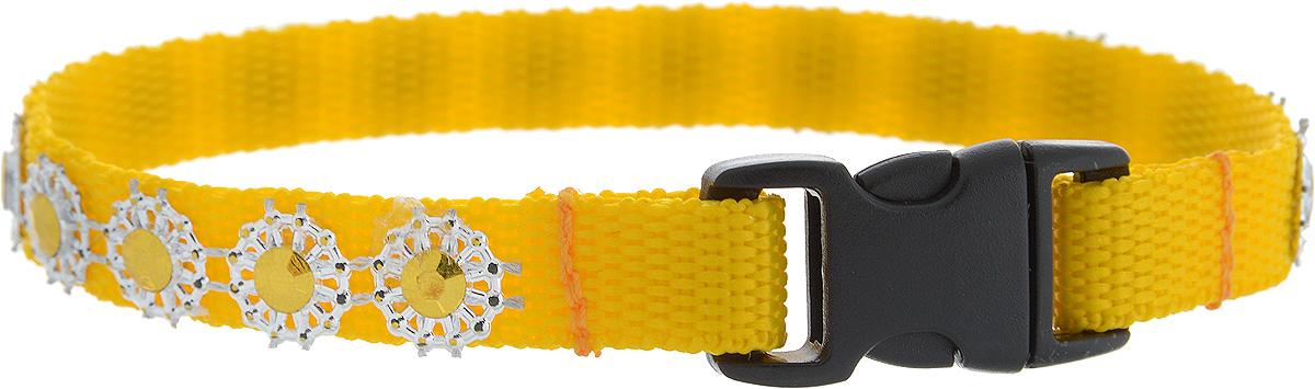 Ошейник для животных GLG Солнечный зайчик, цвет: желтый, размер 1 х 22 см0120710Ошейник для животных GLG Солнечный зайчик изготовлен из нейлона и высококачественного пластика. Сверхпрочные нити делают ошейник надежным и долговечным. Ошейник оформлен декоративнымиэлементами.Длина ошейника: 22 см. Ширина ошейника: 1 см.