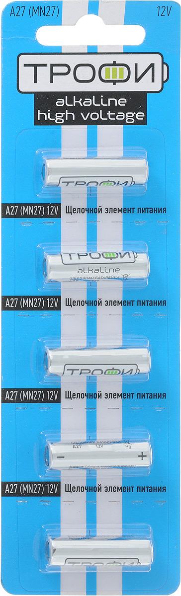 Батарейка алкалиновая Трофи, тип A27 (5BL), 12В, 5 шт7372Щелочные (алкалиновые) батарейки Трофи оптимально подходят для повседневного питания множества современных бытовых приборов: автосигнализаций, электронных игрушек, фонарей, беспроводной компьютерной периферии и многого другого. Не содержат кадмия и ртути. Батарейки созданы для устройств со средним и высоким потреблением энергии. Работают в 10 раз дольше, чем обычные солевые элементы питания. Размер батарейки: 1,8 см х 2,7 см.