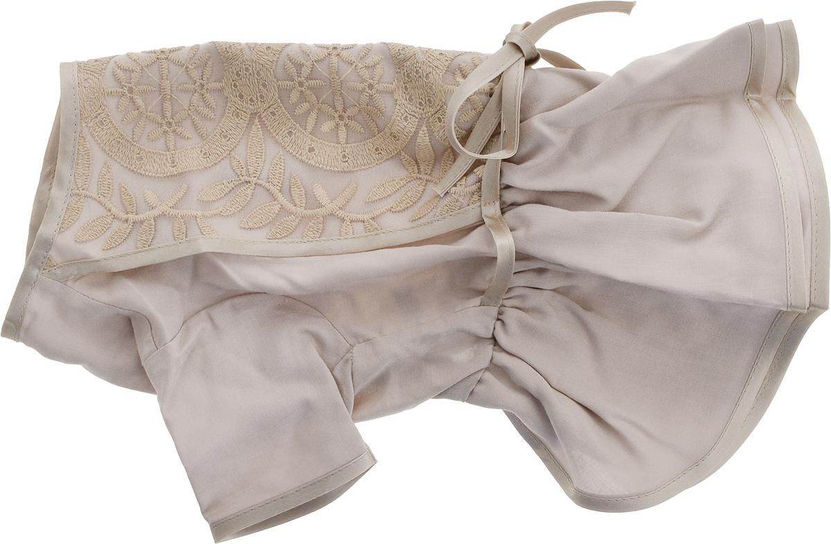 Платье для собак GLG LOVE, цвет: бежевый. Размер LDM-160249-4Платье для собак GLG LOVE выполнено из высококачественного текстиля и оформлено декоративными вышивками. Короткие рукава не ограничивают свободу движений, и собачка будет чувствовать себя в ней комфортно. Изделие застегивается с помощью кнопок на спине.Модное и невероятно удобное платье защитит вашего питомца от пыли и насекомых на улице, согреет дома или на даче. Длина спины: 28-30 см Объем груди: 43-45 см.