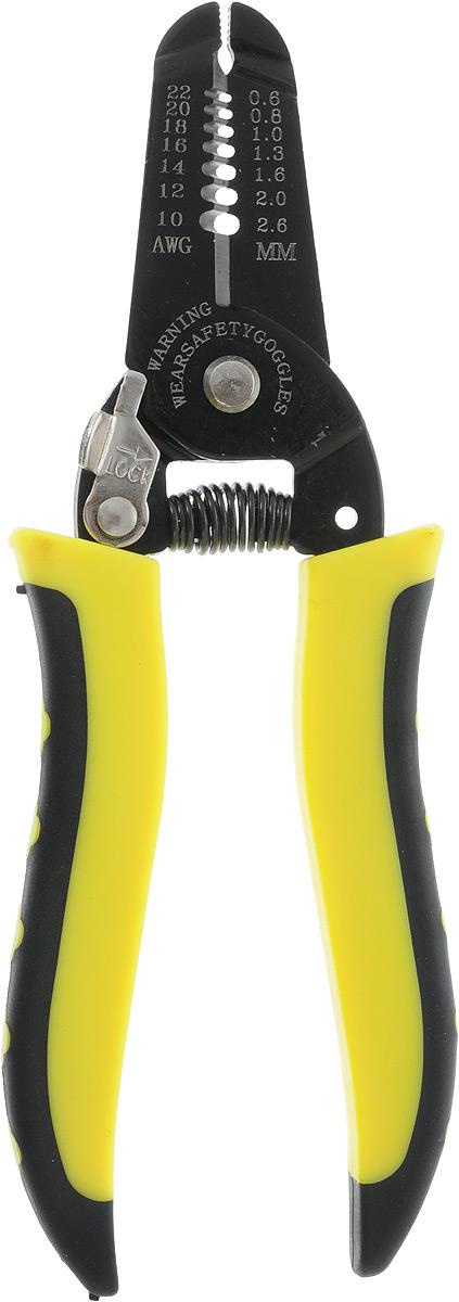 Клещи для снятия изоляции FIT, универсальные, цвет: черный, желтый, 0,6-2,6 ммАксион Т-33Клещи для снятия изоляции FIT предназначены для удаления оболочки от 0,6 мм до 2,6 мм с кабелей. Инструментальная сталь существенно продлевает срок службы инструмента. На рукоятках есть особые ребристые чехлы из нескользящего пластика, благодаря которым работать комфортнее. Характеристики: Материал: пластик, металл. Размеры клещей: 16,5 см х 5 х 1 см. Максимальна толщина провода: 2,6 мм. Размеры упаковки:21,5 см х 8 см х 2 см.