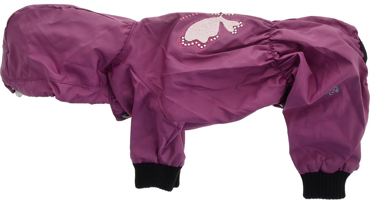 Дождевик прогулочный для собак GLG Бабочка, цвет: фиолетовый. Размер M12171996Прогулочный дождевик для собак GLG Бабочка выполнен из высококачественного текстиля разной текстуры. Рукава не ограничивают свободу движений, и собачка будет чувствовать себя в ней комфортно. Изделие застегивается с помощью кнопок. br>Изделие оформлено декоративной нашивкой.Модный и невероятно удобный непромокаемый дождевик защитит вашего питомца от дождя и насекомых на улице, согреет дома или на даче.