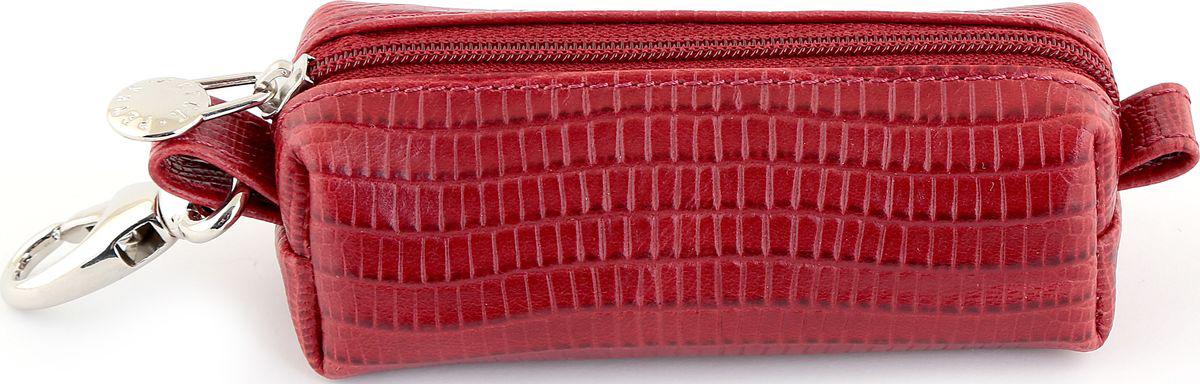 Ключница Petek 1855, цвет: красный. 2542.041.1039890|Колье (короткие одноярусные бусы)Ключница из натуральной кожи Petek красного цвета с гладкой фактурой. Закрывается на молнию, внутри кольцо держатель для ключей. Снаружи карабин для ношения на поясе.