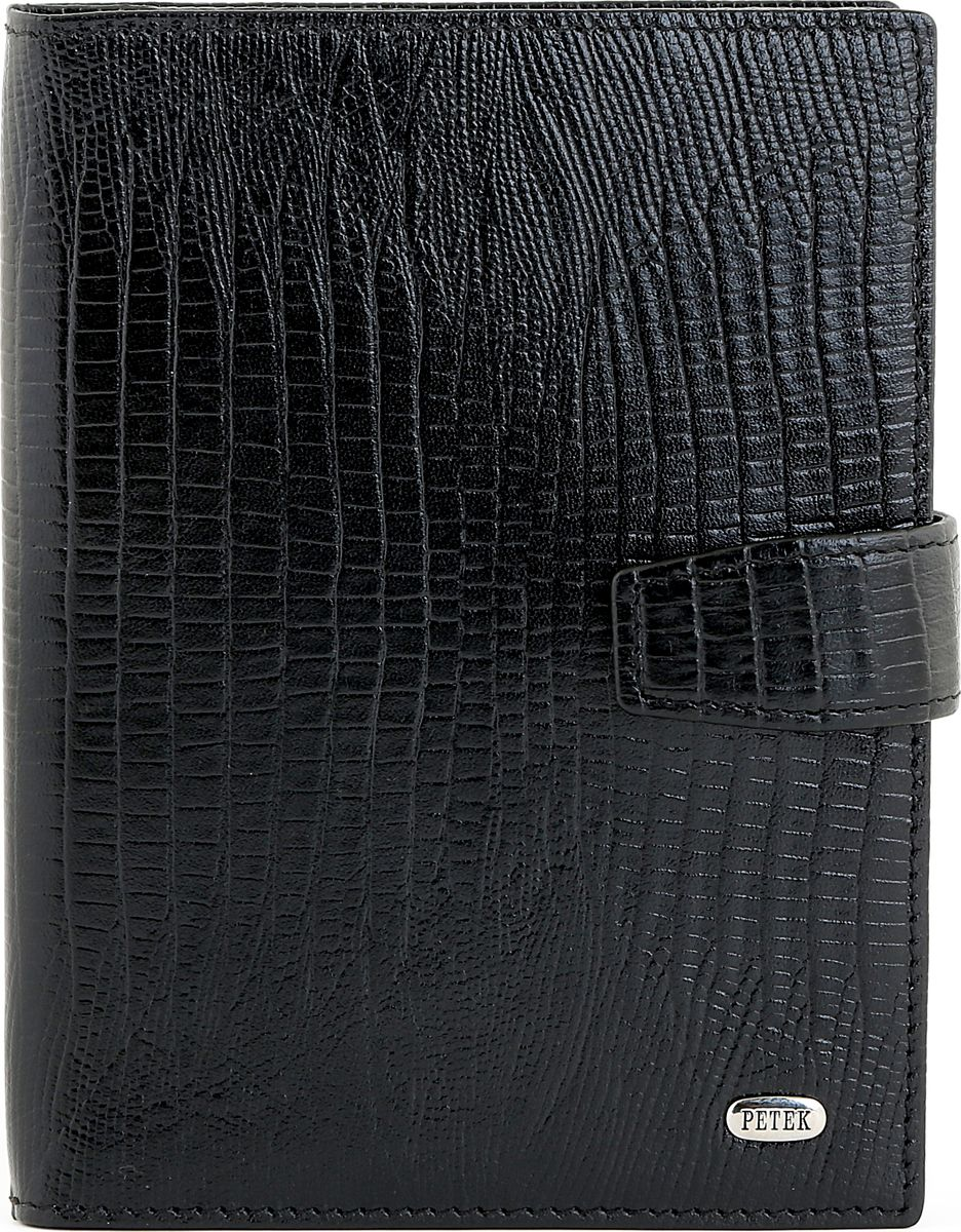 Обложка для автодокументов Petek 1855, цвет: черный. 595.041.01AUTOZAM265Обложка для паспорта Petek из натуральной кожи с плетеной фактурой. Снаружи металлическое лого Petek. Без металлических уголков.