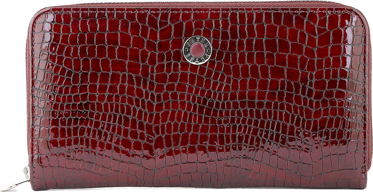 Портмоне женское Petek 1855, цвет: бордовый. 397/2.091.03T0CF8KQHXНатуральная кожа, Питон, Молния, Горизонтальное,С отделением для монет / С отделением на молнии / С отделением для кредиток