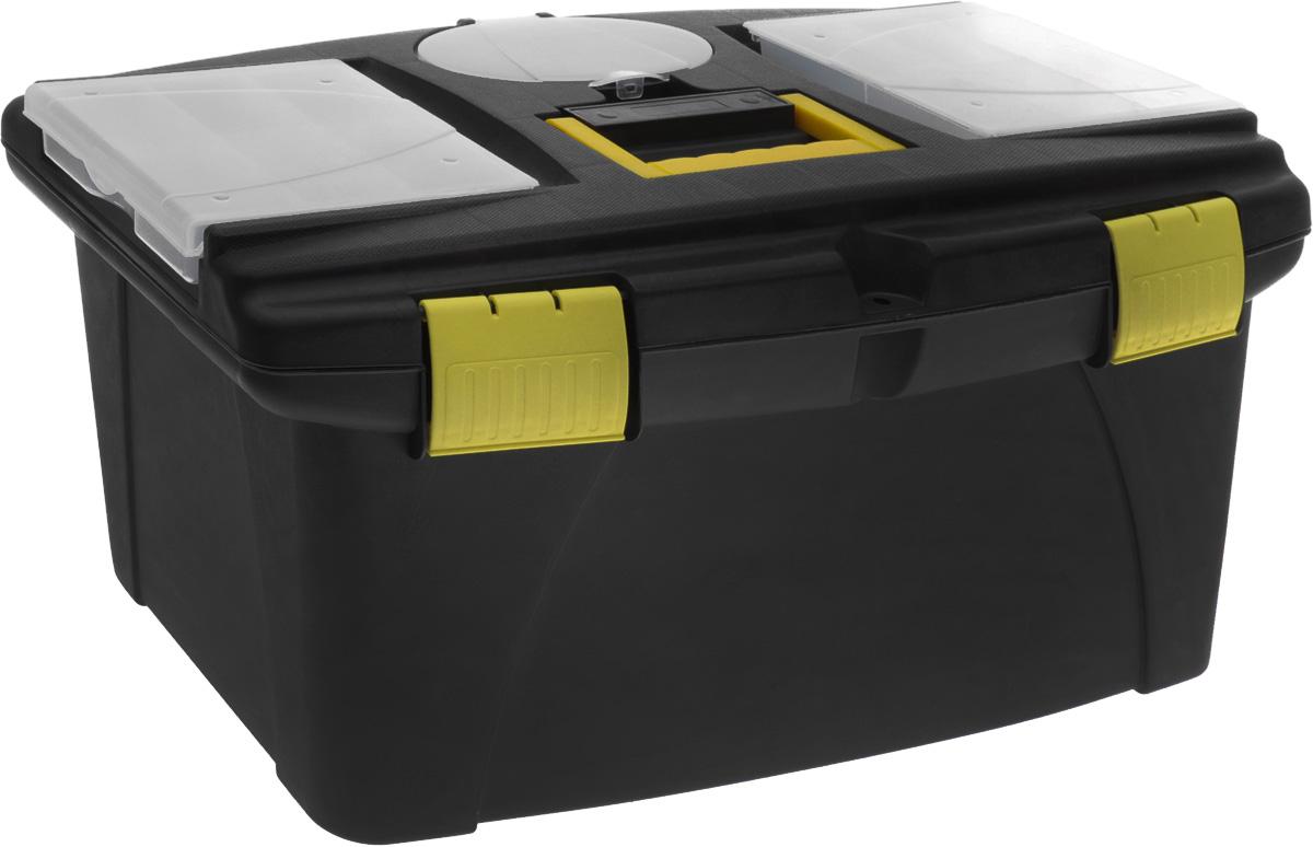 Ящик для инструментов пластиковый FIT, 56,5 см х 32,5 см х 29 см2706 (ПО)Ящик FIT 65574 используется для хранения и комфортной транспортировки различных инструментов, мелких деталей и крепежа. Данная модель обладает вместительными и оптимальными габаритами. Также, ящик FIT 65574 оснащен двумя органайзерами с крышкой для хранения мелких деталей и изготовлен из ударопрочного пластика. Характеристики: Материал:пластик. Размеры ящика: 56,5 см х 32,5 см х 29 см. Глубина ящика: 25 см. Размеры лотка (без учета ручки): 52 см х 26 см х 5 см. Размеры упаковки: 56,5 см х 32,5 см х 29 см.