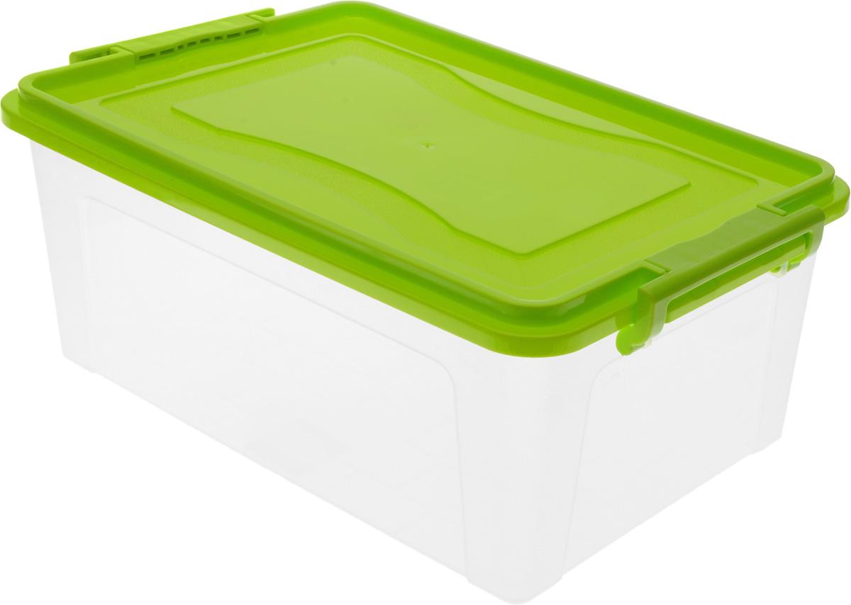 Контейнер для хранения Idea, прямоугольный, цвет: прозрачный, салатовый, 14 л1004900000360Контейнер Idea выполнен из полипропилена, предназначен для хранения игрушек, инструментов, швейных принадлежностей, бумаг и многого другого.Контейнер снабжен эргономичной плотно закрывающейся крышкой со специальными боковыми фиксаторами. Размеры по верхнему краю: 40 х 27 х 16 см.