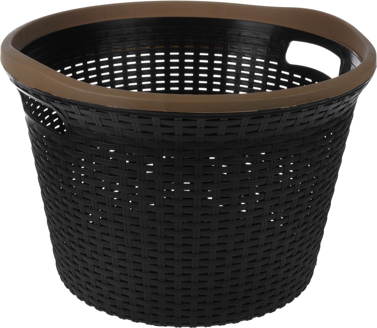 Корзина Полимербыт Артлайн, универсальная, круглая, 32 лС440Корзина для белья Полимербыт Артлайн изготовлена из пластика с эффектом плетения. Оснащена двумя ручками для удобной переноски. Корзина легкая и надежная, гладкая и изящная, с вентиляционными отверстиями в стенках. Пластиковые корзины - идеальный вариант для влажного помещения, они не подвержены плесени, деформации, коррозии. Прекрасно подходят для хранения тонких, дорогих вещей, так как не оставляют зацепок и зазубринок, которые могут безнадежно испортить вещь. Объем: 32 л.