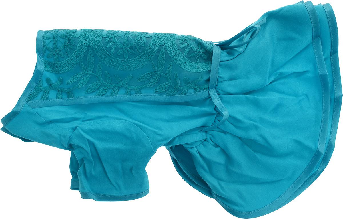 Платье для собак GLG LOVE, цвет: бирюзовый. Размер L0120710Платье для собак GLG LOVE выполнено из высококачественного текстиля и оформлено декоративными вышивками. Короткие рукава не ограничивают свободу движений, и собачка будет чувствовать себя в ней комфортно. Изделие застегивается с помощью кнопок на спине.Модное и невероятно удобное платье защитит вашего питомца от пыли и насекомых на улице, согреет дома или на даче.