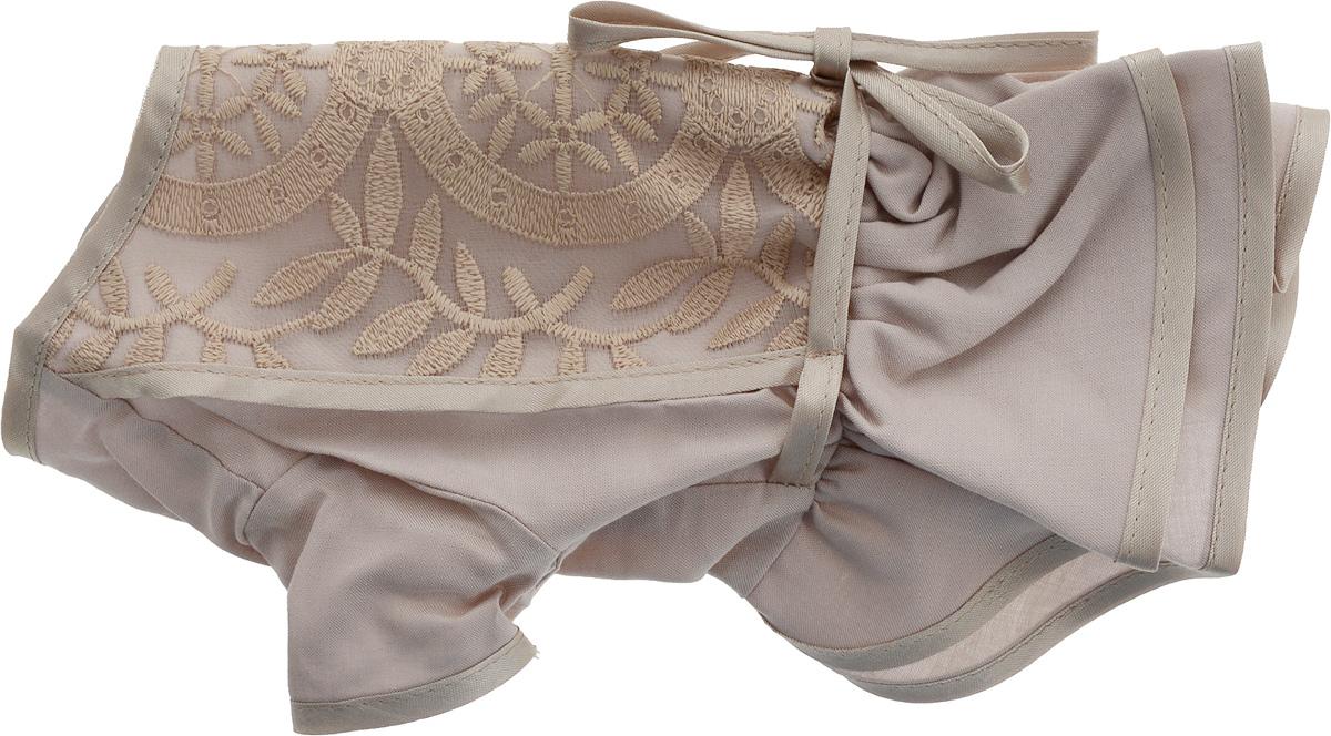 Платье для собак GLG LOVE, цвет: бежевый. Размер XSMOS-016Платье для собак GLG LOVE выполнено из высококачественного текстиля и оформлено декоративными вышивками. Короткие рукава не ограничивают свободу движений, и собачка будет чувствовать себя в ней комфортно. Изделие застегивается с помощью кнопок на спине.Модное и невероятно удобное платье защитит вашего питомца от пыли и насекомых на улице, согреет дома или на даче. Длина спины: 19-21 см Объем груди: 26-28 см.