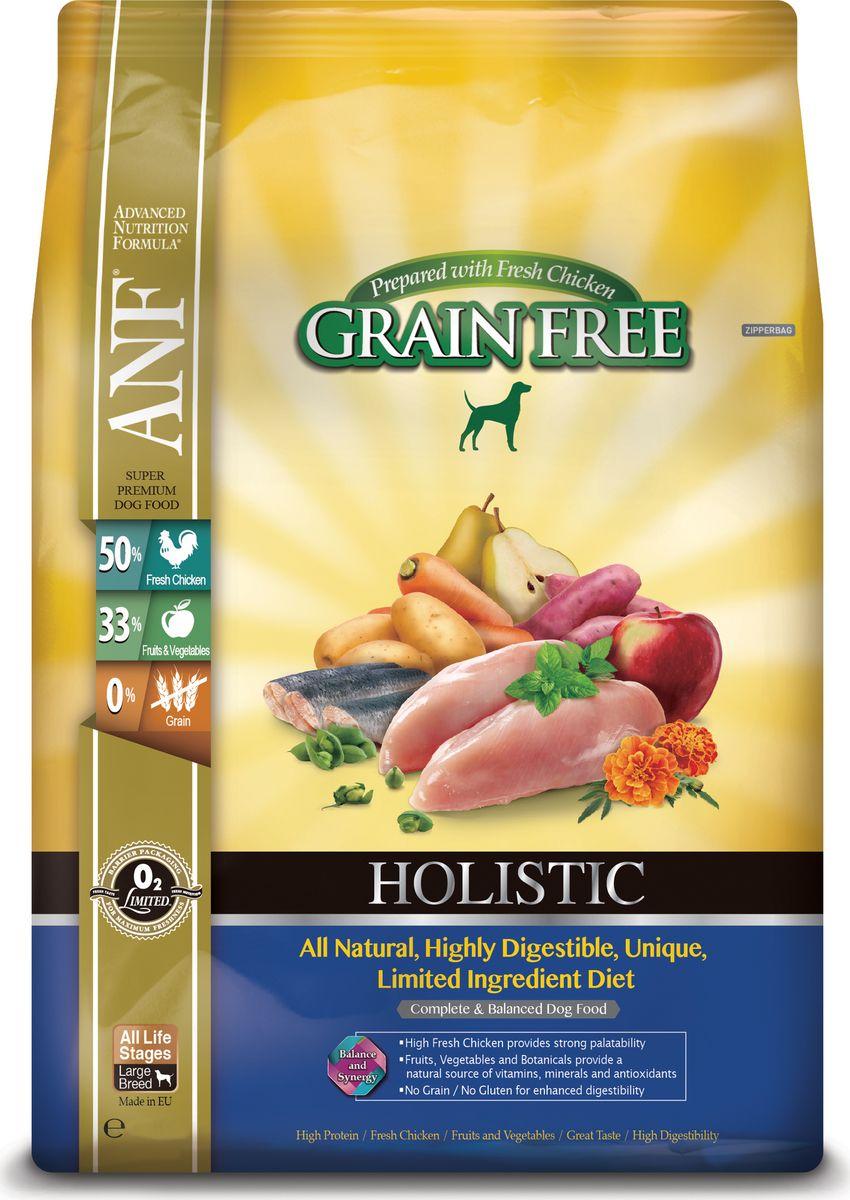 Корм сухой ANF Holistic Grain Free для взрослых собак, беззерновой, с курицей, 10 кг0120710Полноценное и сбалансированное беззерновое питание для собак на всех стадиях жизни. Приготовленные на основе свежего мяса курицы или лосося рационы ANF HOLISTIC GRAIN FREE отличаются великолепным вкусом и усвояемостью белка более чем на 95%! Полностью натуральные. Высокоусвояемые, уникальные рационы с ограниченным количеством ингредиентов. Высокий уровень Омега-3 жирных кислот обеспечивает блеск шерсти и здоровье кожи животного. Свежее мясо курицы, добавленное в рацион, придает ему великолепный вкус, обеспечивает отличное усвоение всего комплекса необходимых аминокислот. Фрукты, овощи и специально подобранные травы являются натуральными источниками витаминов, минеральных веществ и антиоксидантов. Рационы не содержат зерна, кукурузы, сои для улучшения их усвояемости. Приготовлено на основе свежего мяса курицы.Состав: 62% мяса курицы (включая 51% свежего незамороженного мяса курицы, 9% вяленого мяса курицы и 2% бульона из куриной печени), картофель, турецкий горох, сладкий картофель, горох 3%, вяленая сельдь, кокосовое масло, витамины и минералы, яблоко, смесь трав (тимьян, майоран, орегано, петрушка, шалфей), груша, морковь, клюква, водоросли, календула. мята, спирулина, ФОС (462 мг/кг), МОС (115 мг/кг), глюкозамин (170 мг/кг), метилсульфонилметан (170 мг/кг), хондроитин (120 мг/кг).Анализ: неочищенный белок 28%, неочищенных масел и жиров 15%, сырая клетчатка 2,5%, неорганические минералы 7%, НФО (углеводы) 39,5%, Омега-3 - 2,52%, Омега-6 - 0,45%, кальций 1,53%, фосфор 1,24%. Витамины и добавки на 1 кг: витамин А (ретинол ацетат) - 14423 МЕ, витамин D3 (холекальциферол) - 2,163 МЕ, витамин Е (альфатокоферол ацетат) - 96 мг, цинк хелат аминокислот гидрата - 321 мг, феррохелат аминокислот гидрата - 321 мг, марганца хелат аминокислот гидрата - 224 мг, меди хелат аминокислот гидрата - 144 мг, кальций йодат безводный - 1,58 мг, селенит натрия 0,64 мг. Аминокислоты: таурин - 190 мг П