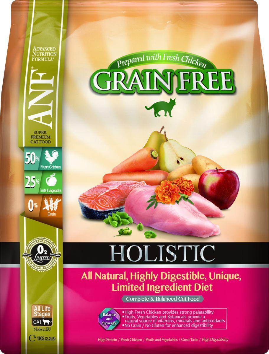 Корм сухой ANF Holistic Grain Free для взрослых кошек, беззерновой, с курицей, 1 кг0120710Полноценное и сбалансированное беззерновое питание для кошек на всех стадия жизни. Приготовленные на основе свежего мяса курицы ANF HOLISTIC GRAIN FREE отличаются великолепным вкусом и усвояемостью белка более чем на 95%! Полностью натуральные, высокоусвояемые, уникальные рационы с ограниченным количеством ингредиентов. Высокий уровень Омега-3 жирных кислот обеспечивает блеск шерсти и здоровье кожи животного. Добавление в рацион свежего мяса курицы придает продукту великолепный вкус, обеспечивает животное всеми необходимыми аминокислотами. Фрукты, овощи и специально подобранные травы являются натуральными источниками витаминов, минеральных веществ и антиоксидантов. Рационы не содержат зерна, кукурузы, сои для улучшения их усвояемости. Полноценное и сбалансированное беззерновое питание для кошек всех возрастов на основе свежего мяса курицы с добавлением лекарственных трав, овощей и фруктов.Состав: 70% мяса курицы (включает 50% свежего незамороженного мяса курицы, 18% вяленого мяса курицы и 2% куриного бульона), картофель, турецкий горох, белок гороха 4%, свежее мясо лосося, витамины и минералы, смесь трав (тимьян, майоран, орегано, петрушка, шалфей), клюква, груша, яблоко, морковь, водоросли, календула, спирулина, ФОС (460 мг/кг), МОС ( 115 мг/кг). Анализ: неочищенный белок 38%, неочищенных масел и жиров 19%, сырая клетчатка 3%, зола 9%, НФО (углеводы) 24%, Омега-6 - 3,22%, Омега-3 - 0,66%, кальций 1,82%, фосфор 1,69%, магний, таурин 877 мг/кг. Витамины и добавки на 1 кг: витамин А (ретинол ацетат) 19,670 МЕ, витамин D3 (холекальциферол) 1,575 МЕ, витамин Е (альфатокоферол ацетат) 90 мг микроэлементы: цинк хелат аминокислот гидрата 580 мг, феррохелат аминокислот гидрата 321 мг, марганца хелат аминокислот гидрата 175 мг, меди хелат аминокислот гидрата 45 мг, селенит натрия 0,6 мг аминокислоты: таурин 877 мг, лизин 218 мг пробиотик: содержит E1705 Enterococcus faecium cernelle 68 