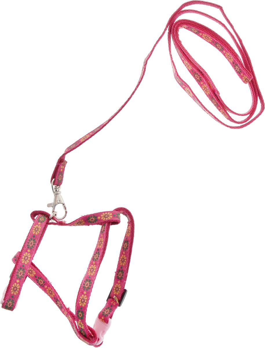 Комплект для кошек GLG Жаккард, цвет: розовый, 2 предметаCB42LКомплект для кошек и хорьков GLG Жаккард изготовлен из высококачественного нейлона, подходит для собак малых и средних размеров. В комплект входит шлейка и поводок. Крепкие пластиковые элементы делают ее надежной и долговечной. Изделие оснащено светоотражающими полосами.Шлейка - это альтернатива ошейнику. Правильно подобранная шлейка не стесняет движения питомца, не натирает кожу, поэтому животное чувствует себя в ней уверенно и комфортно. Поводок - необходимый аксессуар для собаки. Ведь в опасных ситуациях именно он способен спасти жизнь вашему любимому питомцу. Изделия отличаются высоким качеством, удобством и универсальностью.Размер регулируется при помощи пряжки.