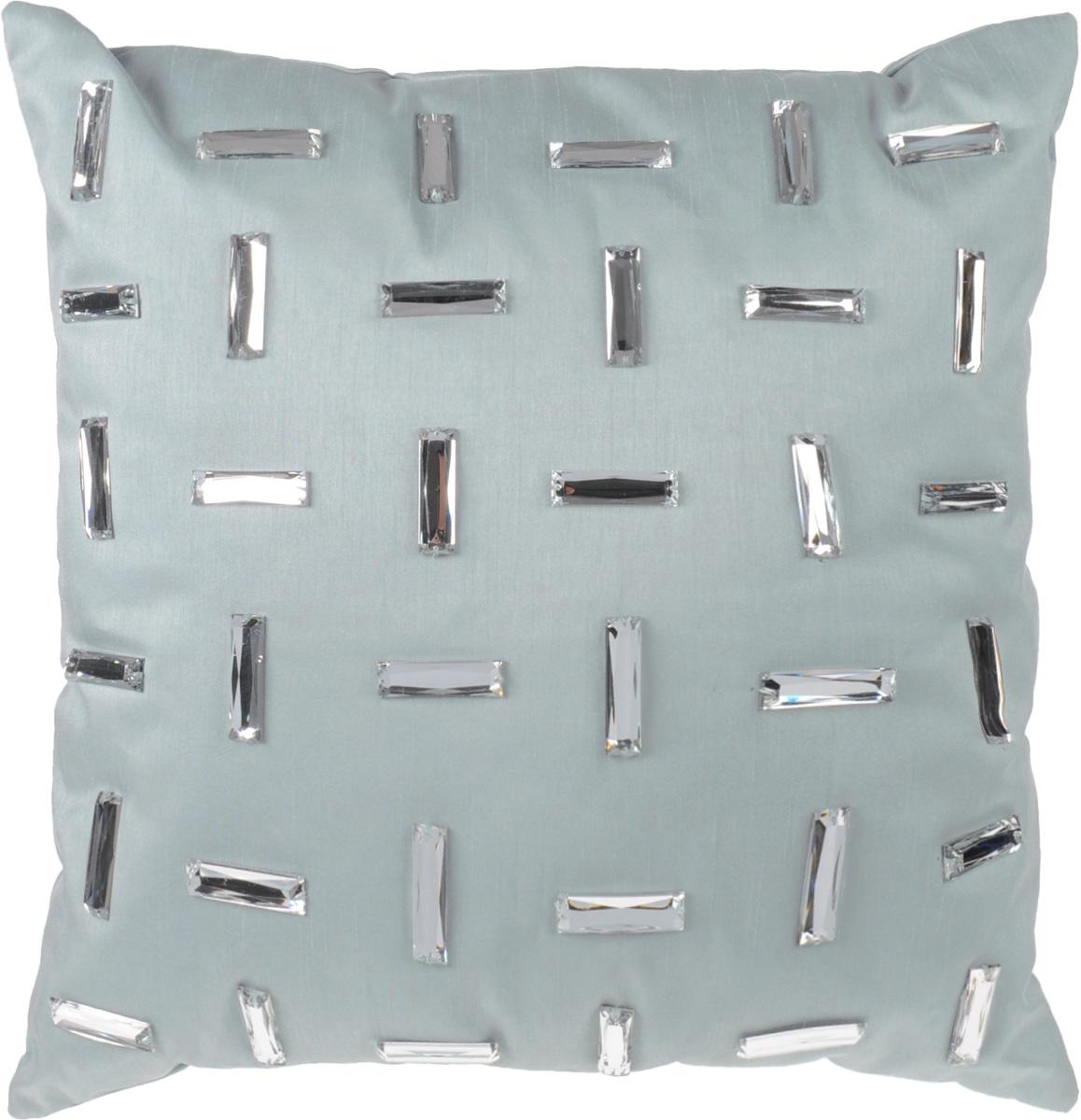Декоративная подушка Коллекция, цвет: серый, 40 см х 40 см. ПДА-610503Декоративная подушка Коллекция, выполненная из полиэстера серого цвета с набивкой из силиконизированного волокна, станет отличным подарком для каждого. Подушка расшита декоративными блестящими элементами . Съемный чехол закрывается на застежку-молнию.Такая подушка подарит комфорт и уют, а также станет оригинальным украшением интерьера. Характеристики:Материал чехла: 100% полиэстер, пластик. Набивка: 100% силиконизированное волокно. Размер подушки: 40 см x 40 см. Артикул: ПДА-6.