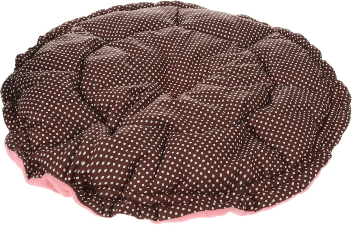 Лежак для собак GLG Кувшинка, цвет: розовый, коричневый, 65 смL009Лежак для собак Кувшинка обязательно понравится вашему питомцу. Он выполнен из качественного сочетания хлопка с полиэстером и дополнен набивкой из поролона. Материал не теряет своей формы долгое время. Края лежака дополнены внутренним утягивающим шнурком. Мягкий лежак станет излюбленным местом вашего питомца, подарит ему спокойный и комфортный сон, а также убережет вашу мебель от шерсти.