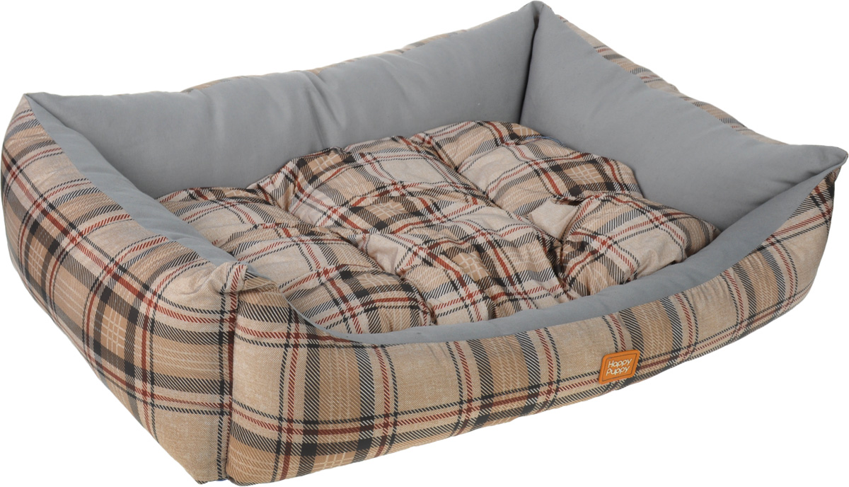 Лежак для собак Happy Puppy Классик-4, цвет: серый, коричневый, 64 x 49 x 15 см0120710Мягкий лежак Happy Puppy Классик-4 обязательно понравится вашему питомцу. Он выполнен из высококачественного хлопка и полиэстера с водоотталкивающей пропиткой, а наполнитель - из мягкого холлофайбера. Такой материал не теряет своей формы долгое время.Лежак оснащен мягкой съемной подстилкой. Высокие бортики обеспечат вашему любимцу уют. За изделием легко ухаживать, его можно стирать вручную. Мягкий лежак станет излюбленным местом вашего питомца, подарит ему спокойный икомфортный сон, а также убережет вашу мебель от шерсти. Размер: 64 x 49 x 15 см.