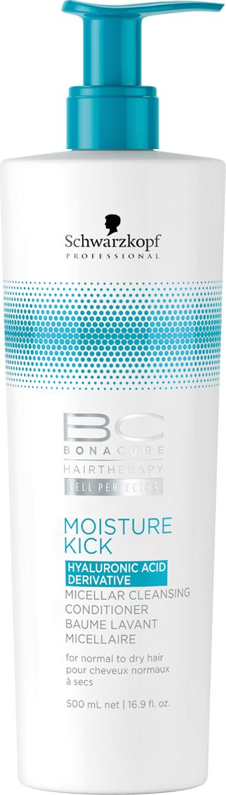 Bonacure Мицеллярный очищающий кондиционер Интесивное увлажнение Moisture Kick, 500 мл2138552Первый Мицеллярный Очищающий Кондиционер. Для сухих и нормальных волос. Мягкая, слабопенящаяся формула без сульфатов очищает и кондиционирует волосы, сохраняя естественный гидробаланс и не перегружая. Формула, обогащенная производной Гиалуроновой кислоты, контролирует уровень увлажнения. Волосы мягкие, блестящие и упругие.
