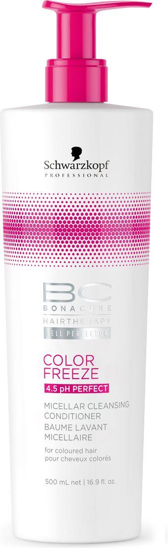 Bonacure Мицеллярный очищающий кондиционер Сияние цвета Bonacure Color Freeze, 500 млFS-00897Первый Мицеллярный Очищающий Кондиционер. Для окрашенных волос. Мягкая, слабопенящаяся формула без сульфатов очищает и кондиционирует волосы, сохраняя естественный гидробаланс и не перегружая. Формула, обогащенная производной Гиалуроновой кислоты, контролирует уровень увлажнения. Сохраняет цвет от вымывания. Волосы мягкие, блестящие и упругие.