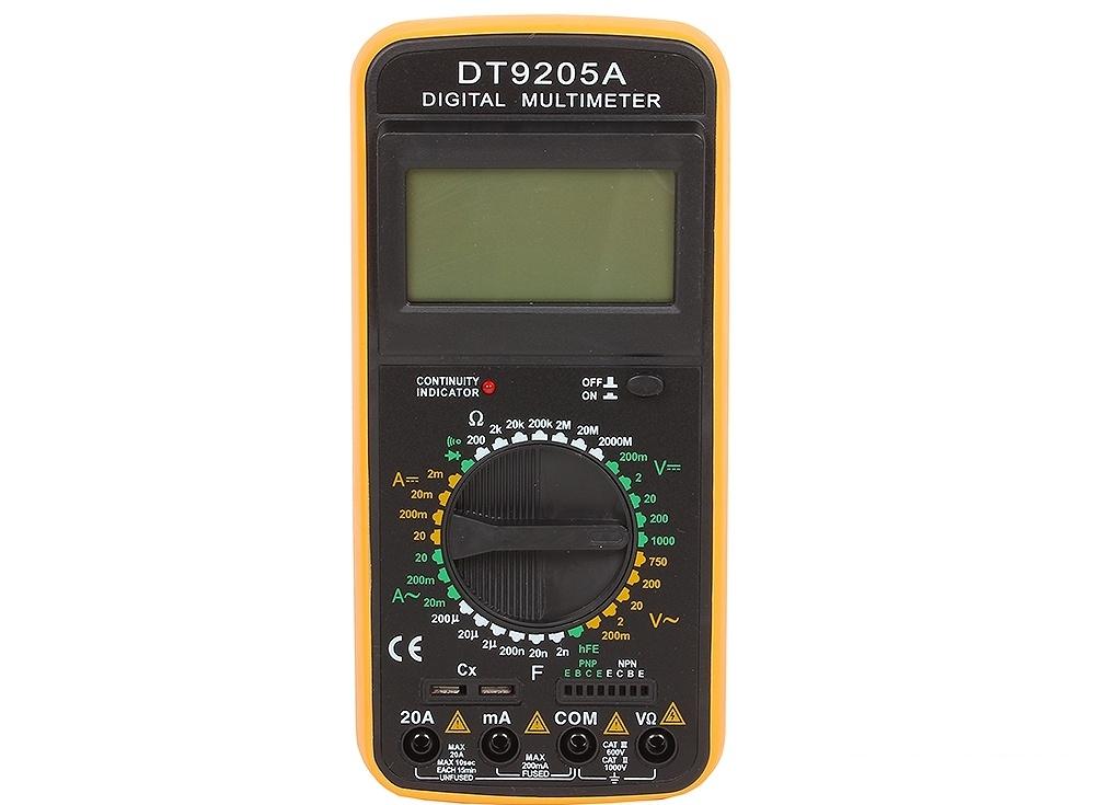 Мультиметр ТЕК DT 9205AFS-80423Постоянное напряжение 200м-2-20-200-1000 VПостоянный ток 2-20-200м-20А АСопротивление 200-2к-20к-200к-2М-20М-200МОм+/-1,0% мОмРабочая температура 0/+40 °С+Q22:Q24