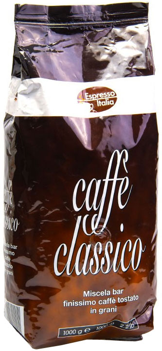Espresso Italia Caffe Classico кофе в зернах, 1 кг0120710Итальянский кофе в зёрнах.Это очень популярная смесь ароматной Арабики и крепкой Робусты. Зерна кофе для этой смеси собирают в Центральных и Южных регионах Латинской Америки и в Индонезии. Такое сочетание ярко наполняет смесь зерен выраженным вкусом и нежным шоколадным оттенком, сладковатым ароматом и умеренной крепостью. 20% Арабика, 80% Робуста.