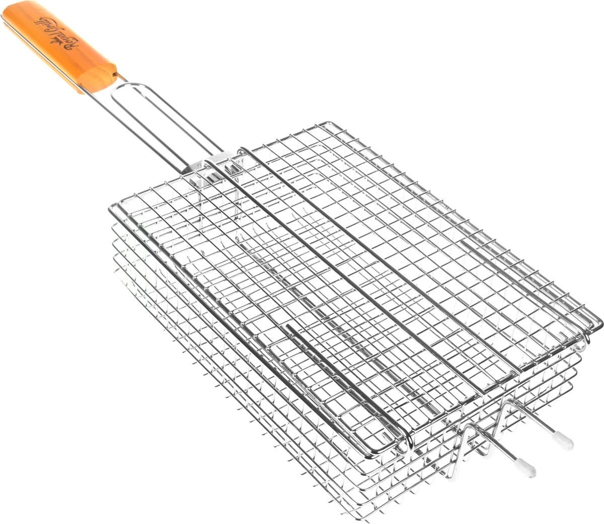 Решетка-гриль для мелких кусочков RoyalGrill, глубокая, 25,5 х 18 см391602Глубокая решетка-гриль RoyalGrill изготовлена из высококачественной пищевой стали, а рукоятка выполнена из дерева. Изделие имеет съемную крышку, которая фиксируется с помощью кольца. Решетка предназначена для приготовления мелких кусочков мяса, птицы, рыбы, овощей. Надежная конструкция удобна в использовании. Размер решетки: 25,5 х 18 х 8 см. Длина (с ручкой): 60 см.