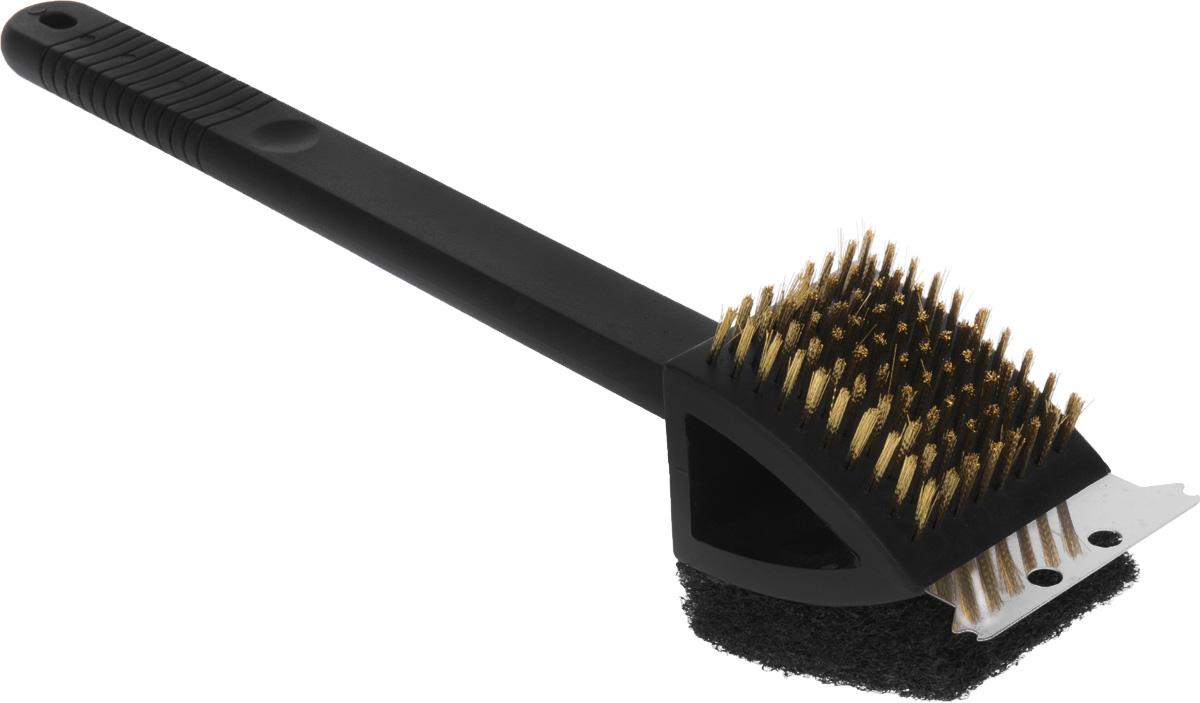 Щетка для чистки гриля RoyalGrill, со скребком. 80-012TB 08Щетка RoyalGrill предназначена для чистки мангалов, барбекю, решеток-гриль, шампуров и других металлических поверхностей. Щетка, выполненная из полипропилена, снабжена жесткой металлической щетиной, губкой и скребком. Удобная эргономичная ручка обеспечивает комфорт во время чистки. Длина ручки: 27,7 см.