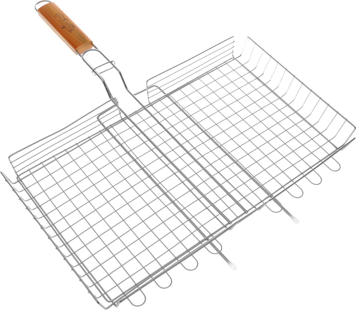 Решетка-гриль RoyalGrill BBQ time, глубокая, 45 х 25 см296Глубокая решетка-гриль RoyalGrill изготовлена из высококачественной пищевой стали, а рукоятка выполнена из дерева. Верхний сегмент решетки фиксируется с помощью кольца на ручке. Решетка предназначена для приготовления овощей и крупных кусков мяса, птицы, рыбы. Надежная конструкция удобна в использовании. Размер решетки: 45 х 25 х 5 см. Длина (с ручкой): 57 см.