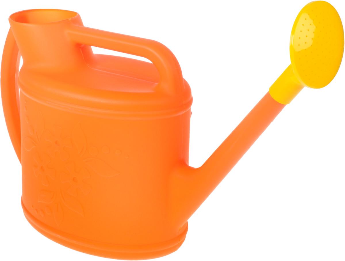 Лейка Альтернатива Премьера, с рассеивателем, цвет: оранжевый, желтый, 10 л1928277Садовая лейка Альтернатива Премьера предназначена для полива насаждений на приусадебном участке. Она выполнена из пластика и имеет небольшую массу, что позволяет экономить силы при поливе. Удобство в использовании также обеспечивается за счет эргономичной ручки лейки. Выпуклая насадка-рассеиватель позволяет производить равномерный полив, не прибивая растения. Внешние стенки дополнены рельефным цветочным рисунком.