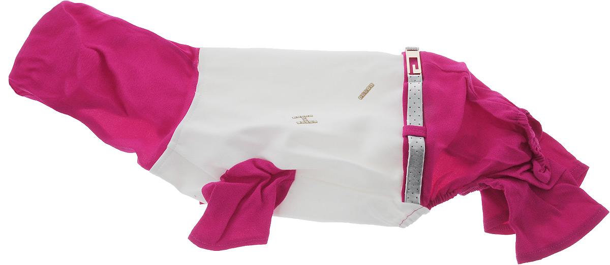 Комбинезон для собак Pret-a-Pet, цвет: белый, розовый. Размер L0120710Комбинезон для собак Pret-a-Pet отлично подойдет для прогулок в сухую погоду или для дома. Модель выполнена из вискозы с добавлением полиакрила (вискоза 95%, полиакрил 5%). Комбинезон оснащен несъемным остроконечным капюшоном. Изделие имеет длинные брючины и короткие рукава для передних лапок. Задняя часть дополнена мягкой резинкой. В районе холки имеется прорезь для крепления поводка. Комбинезон застегивается на животике на 3 металлические кнопки. Модель украшена декоративным ремешком. Декор в виде блестящих букв добавляет оригинальности.Благодаря такому комбинезону вашему питомцу будет комфортно наслаждаться прогулкой или играми дома.Длина по спинке: 31 см.Обхват груди: 55 см.Обхват шеи: 29 см.