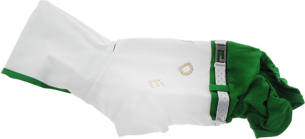 Комбинезон для собак Pret-a-Pet, цвет: белый, зеленый. Размер XS0120710Комбинезон для собак Pret-a-Pet отлично подойдет для прогулок в сухую погоду или для дома. Модель выполнена из вискозы с добавлением полиакрила (вискоза 95%, полиакрил 5%). Комбинезон оснащен несъемным остроконечным капюшоном. Изделие имеет длинные брючины и короткие рукава для передних лапок. Задняя часть дополнена мягкой резинкой. В районе холки имеется прорезь для крепления поводка. Комбинезон застегивается на животике на 3 металлические кнопки. Модель украшена декоративным ремешком. Декор в виде блестящих букв добавляет оригинальности.Благодаря такому комбинезону вашему питомцу будет комфортно наслаждаться прогулкой или играми дома.Длина по спинке: 22 см.Обхват груди: 31 см.Обхват шеи: 25 см.