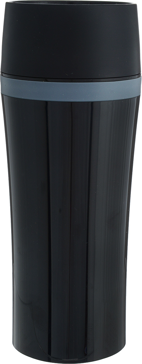 Термокружка Emsa Travel Mug Fun, цвет: черный, 360 млVT-1520(SR)Термокружка Emsa Travel Mug Fun - это идеальный попутчик в дороге - не важно, по пути ли на работу, в школу или во время похода по магазинам. Вакуумная кружка на 100% герметична. Корпус выполнен из высококачественного пищевого пластика и имеет двойные стенки, благодаря чему температура жидкости сохраняется долгое время. Термокружка открывается нажатием кнопки, можно пить из нее с любой стороны. Пробка разбирается и превосходно моется. Дно кружки выполнено из силикона, что препятствует скольжению. Кружка легкая и не занимает много места. Можно мыть в посудомоечной машине. Диаметр кружки по верхнему краю: 8 см.Диаметр дна кружки: 7 см.Высота кружки: 20 см.