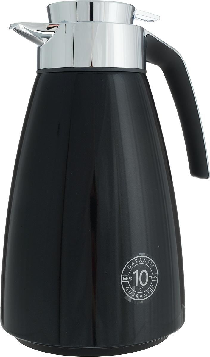 Термос-чайник Emsa Bell, цвет: черный, 1,5 л923615Удобный термос-чайник Emsa Bell станет незаменимым аксессуаром в поездках, выездах на природу, дачу, рыбалку или пикник. Корпус изделия выполнен из высококачественной нержавеющей стали и ABS пластика, а колба - из стекла. На крышке изделия имеется кнопка, с помощью которой вы сможете легко открыть герметичный клапан, а удобные носик и ручка позволят аккуратно разлить содержимое по стаканам. Время удержания тепла: 12 ч.Время удержания холода: 24 ч.Диаметр по верхнему краю: 6,5 см.Высота (с учетом крышки): 28 см.