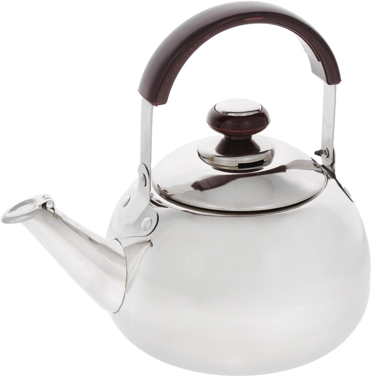 Чайник Mayer & Boch, со свистком, 2 л. 2522115510Чайник Mayer & Boch изготовлен из высококачественной нержавеющей стали. Он оснащен подвижной ручкой из стали с бакелитовой накладкой, что делает использование чайника очень удобным и безопасным. Крышка снабжена свистком, позволяя контролировать процесс подогрева или кипячения воды.Эстетичный и функциональный чайник будет оригинально смотреться в любом интерьере.Подходит для газовых, электрических и стеклокерамических плит. Можно мыть в посудомоечной машине.Высота чайника (без учета ручки и крышки): 11,5 см.Высота чайника (с учетом ручки и крышки): 21 см.Диаметр чайника (по верхнему краю): 10 см.Диаметр основания: 14 см.