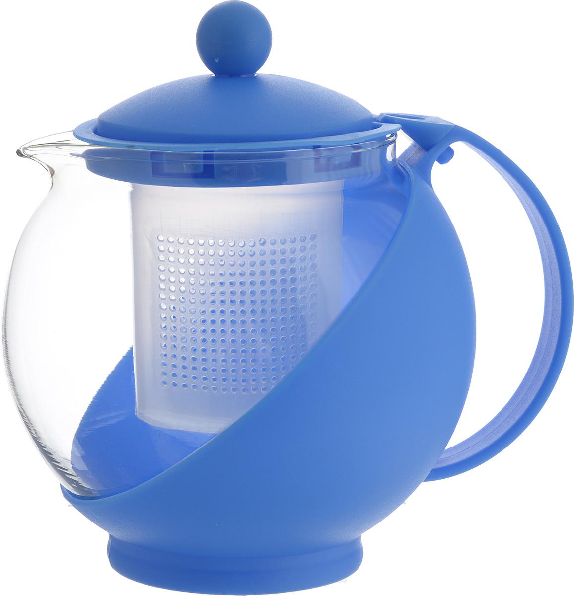 Чайник заварочный Wellberg Aqual, с фильтром, цвет: прозрачный, синий, 750 млVT-1520(SR)Заварочный чайник Wellberg Aqual изготовлен из высококачественного пластика и жаропрочного стекла. Чайник имеет пластиковый фильтр и оснащен удобной ручкой. Он прекрасно подойдет для заваривания чая и травяных напитков. Такой заварочный чайник займет достойное место на вашей кухне.Высота чайника (без учета крышки): 11,5 см.Высота чайника (с учетом крышки): 14 см. Диаметр (по верхнему краю) 7 см.