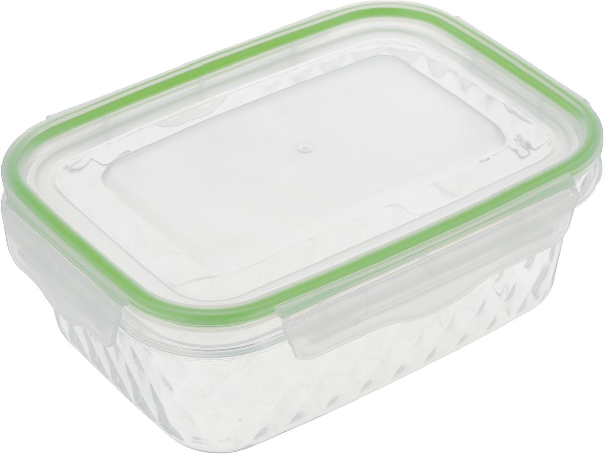 Контейнер пищевой MOULINvilla Diamond, цвет: прозрачный, салатовый, 600 мл21395599Прямоугольный контейнер MOULINvilla Diamond изготовлен из высококачественного полипропилена без содержания BPA (бисфенол А), кадмия, хрома, ртути и свинца. Предназначен для хранения и транспортировки горячих и холодных продуктов. Контейнер плотно и герметично закрывается благодаря застежке Clips-Lock. Такая технология крышки обеспечивает 100% герметичность и позволяет сохранять продукты свежими долгое время. Застежка прослужит до 300000 циклов открывания-закрывания. Контейнер не впитывает запахи еды, устойчив к воздействию масел и жиров. Выдерживает температуру от -20 до +105°С. Можно мыть в посудомоечной машине и использовать в микроволновой печи без крышки.