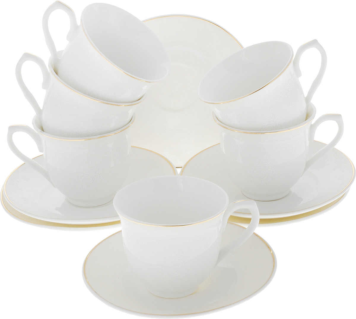Сервиз кофейный Loraine, 12 предметов. 26438115510Кофейный сервиз Loraine на 6 персон выполнен из высококачественного костяного фарфора - материала, безопасного для здоровья и надолго сохраняющего тепло напитка. В наборе 6 кофейных чашек и 6 блюдец. Несмотря на свою внешнюю хрупкость, каждый из предметов набора обладает высокой прочностью и надежностью. Элегантный классический дизайн с тонкой золотой каймой делает этот кофейный набор прекрасным украшением любого стола. Блюдца и внешние стенки чашек дополнены изысканным рельефом. Набор аккуратно упакован в подарочную коробку, поэтому его можно преподнести в качестве оригинального и практичного подарка для своих родных и самых близких.Объем чашки: 80 мл. Диаметр чашки (по верхнему краю): 6 см. Высота чашки: 5,5 см. Диаметр блюдца: 11 см.