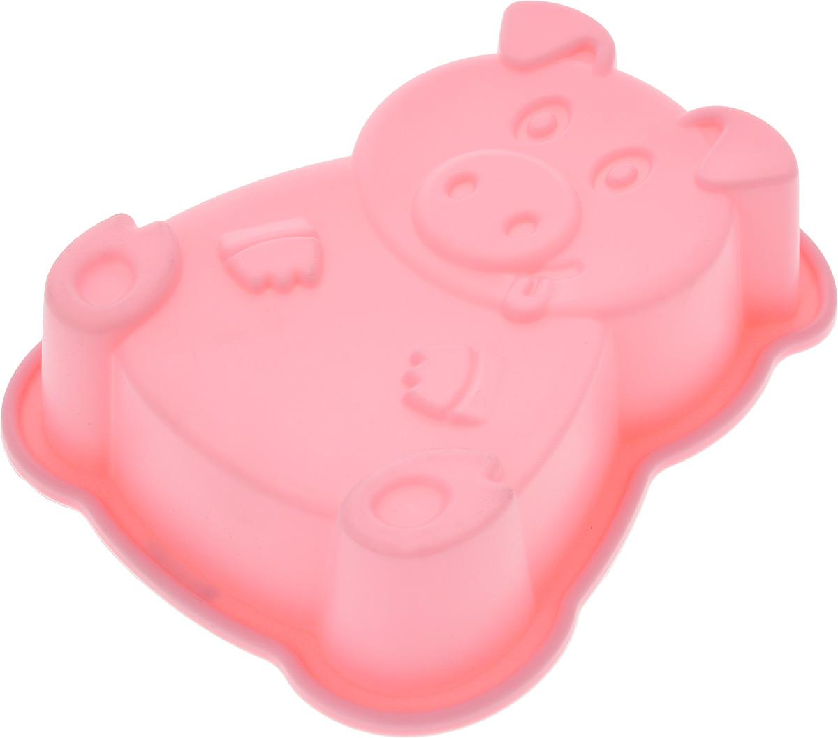 Форма для выпечки и заморозки Regent Inox Поросенок, силиконовая, цвет: розовый