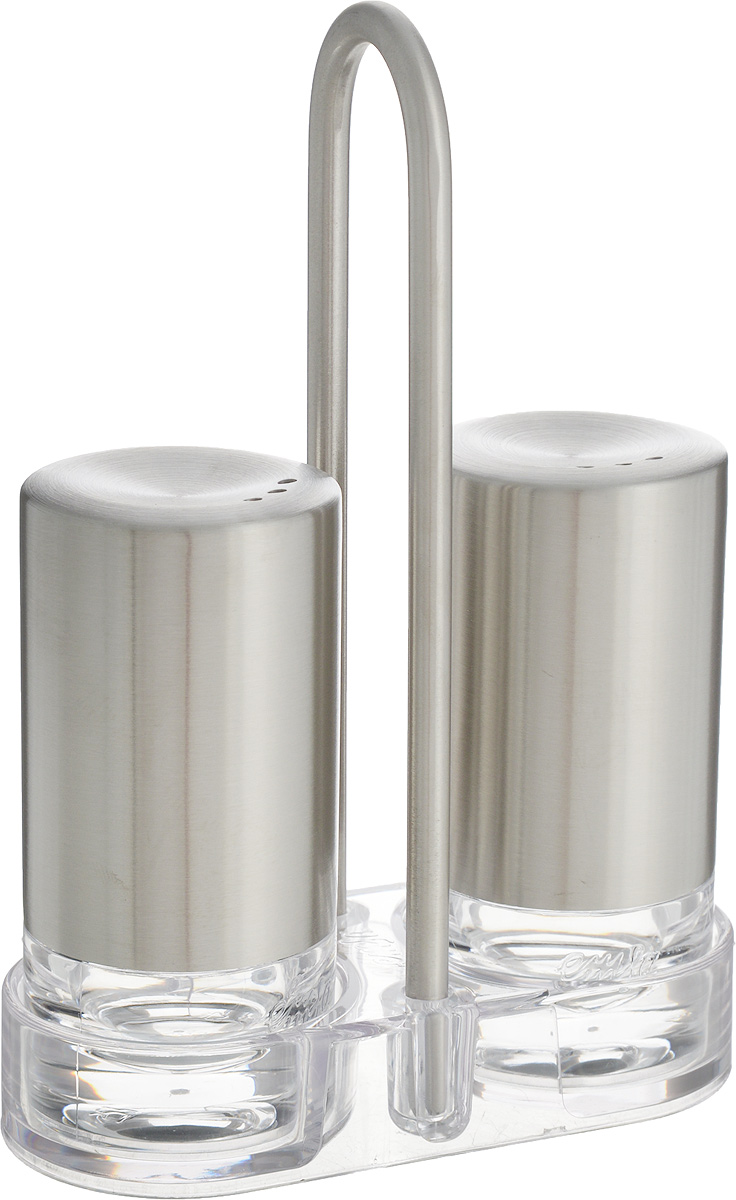 Набор для специй Emsa Accenta, 2 предмета21395599Набор для специй Emsa Accenta состоит из солонки и перечницы. Предметы набора выполнены из высококачественного пластика и нержавеющей стали. Также в набор входит подставка, выполненная из нержавеющей стали и пластика. Солонка и перечница легки в использовании: стоит только перевернуть емкости, и вы с легкостью сможете поперчить или добавить соль по вкусу в любое блюдо. Набор для специй Emsa Accenta прекрасно оформит кухонный стол и станет незаменимым аксессуаром на любой кухне.Диаметр предметов: 4 см.Высота предметов: 8 см.Размер подставки: 10 см х 4,5 см х 14,5 см.