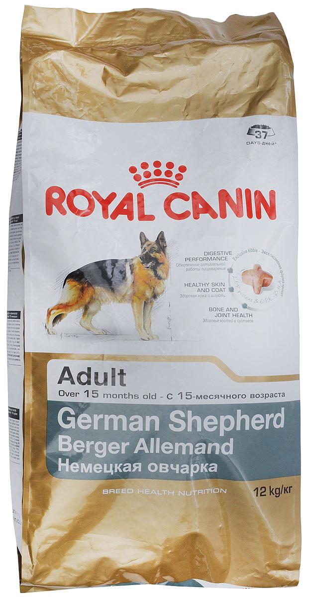 Корм сухой Royal Canin German Shepherd Adult, для собак породы немецкая овчарка старге 15 месяцев, 12 кг0120710Сухой корм Royal Canin German Shepherd Adult - это полнорационный сбалансированный корм для немецких овчарок. Особенности породы: Забота о безопасном пищеварении. У немецкой овчарки, как и у других крупных собак, желудок и кишечник весьма чувствительны. На это имеются три причины: относительно небольшие размеры пищеварительного тракта, высокая кишечная проницаемость и повышенный риск брожения в желудке. Забота о коже со щелочной реакцией. Из-за повышенного pH кожи немецкая овчарка особо уязвима для бактериальных инфекций. Специально подобранный рацион усиливает защитные функции кожных покровов и помогает поддерживать природную красоту шерсти. Чувствительная иммунная система. Естественные иммунные механизмы немецкой овчарки не всегда обеспечивают достаточно эффективную защиту кожи и слизистых оболочек. Чтобы организм собаки мог противостоять окислительному стрессу, влекущему за собой старение, необходимо позаботиться об укреплении иммунной системы. Особенности корма: Высокоусвояемые белки (L.I.P.) в сочетании с маслом кокосовых ядер и рисом как единственными источниками углеводов обеспечивают максимальную безопасность пищеварения, что чрезвычайно важно для немецкой овчарки с ее чувствительным желудком и кишечником. Специально подобранные источники клетчатки в составе данного продукта снижают брожение в желудке и кишечнике, способствуя поддержанию здоровой кишечной флоры. Защита чувствительной кожи (рН > 7). Укрепляет барьерную функцию кожи и поддерживает природную красоту шерсти немецкой овчарки. Мощная природная защита. Поддерживает естественные защитные механизмы у активных собак и помогает сохранять жизненные силы немецкой овчарки в пожилом возрасте. Поддержка суставов. Помогает сохранять здоровье суставов при высоких нагрузках, характерных для чрезвычайно подвижных немецких овчарок. Состав: рис, дегидратированное мясо птицы, животные жиры, изолят растите
