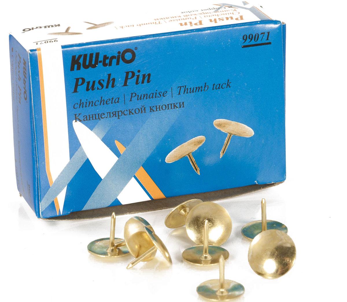 KW-Тrio Кнопки канцелярские цвет золотистый 100 штFS-00103Круглые металлические кнопки KW-Тrio применяются для крепления информации к пробковым доскам и другим поверхностям.В упаковке 100 штук.